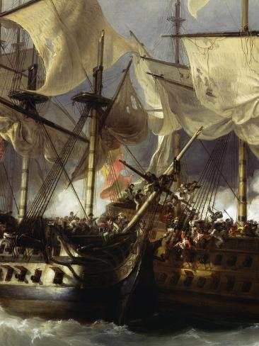 Naval Battle of Cape St Vincent Between English and Spanish, February 14, 1797 Giclée-Druck
