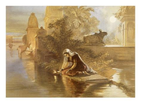 Indian Woman Floating Lamps on the Ganges, from 'India Ancient and Modern', 1867 (Colour Litho) Giclée-Druck