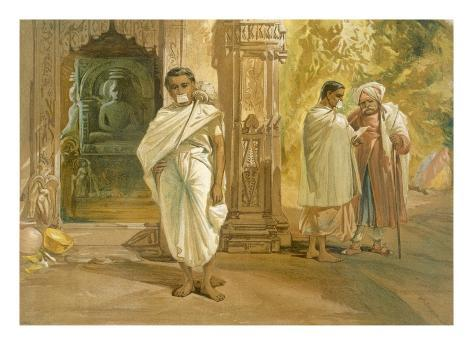 Jain Priests, from 'India Ancient and Modern', 1867 (Colour Litho) Giclée-Druck