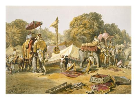 Pheel Khana, or Elephants Quarters, Holcars Camp, from 'India Ancient and Modern', 1867 Giclée-Druck