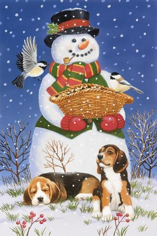 Snowman, Birds and Beagles Giclée-Druck
