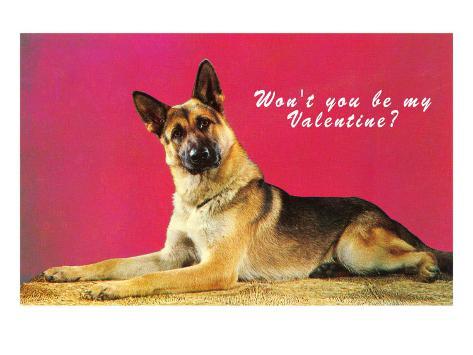 willst du nicht meine valentine sein deutscher sch ferhund mit fragendem blick poster bei. Black Bedroom Furniture Sets. Home Design Ideas