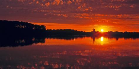 Windmill Island Gardens at sunrise, Holland, Michigan, USA Fotografie-Druck