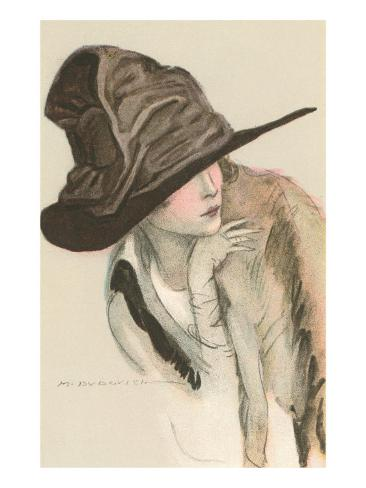 Woman in Hat Kunstdruck