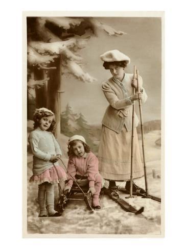 Woman on Skis, Girls on Sled Kunstdruck