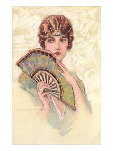 Woman Portrait with Fan Kunstdruck