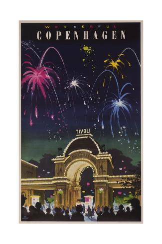 Wonderful Copenhagen, Tivoli Garden Travel Poster Giclée-Druck
