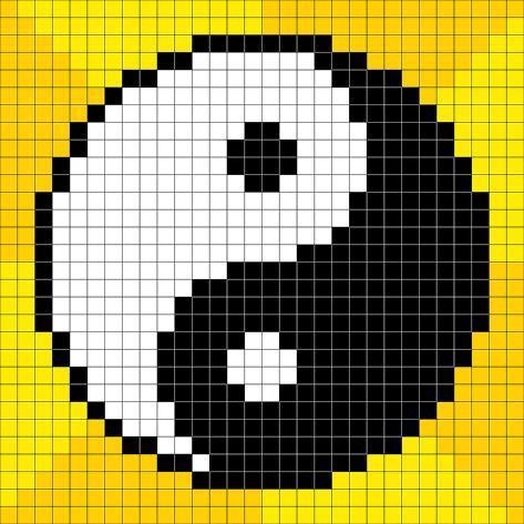 Magnifique 8-Bit Pixel-Art Yin Yang Symbol Schilderijen van wongstock bij #HN_46