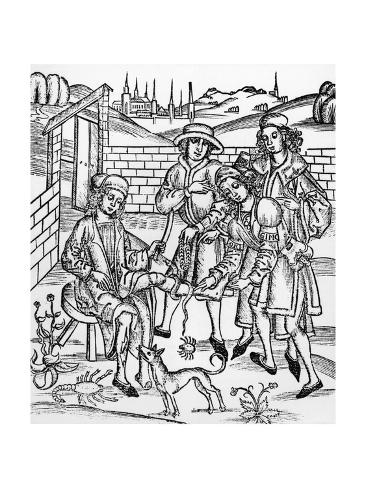 Woodcut Print Showing a Medieval Medical Scene Giclée-Druck