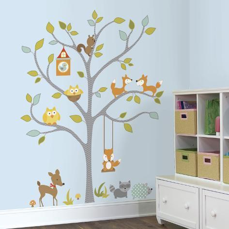 Woodland Fox & Friends Tree Peel and Stick Wall Decals Wandtattoo