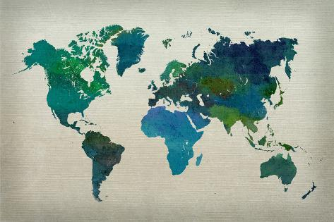 World Map Watercolor (Cool) Poster
