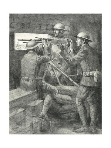 World War I Soldiers Manning a Machine Gun in a Bunker Giclée-Druck
