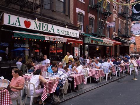 People Sitting At An Outdoor Restaurant Little Italy Manhattan New York State Fotoprint