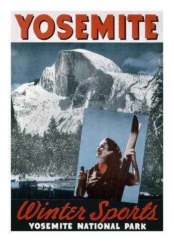 Yosemite, Winter Sports Kunstdruck