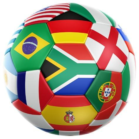 3D Rendering Of A Soccer Ball With Flags Of The Participating Countries In World Cup 2010 Kunstdruck