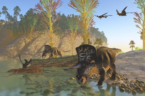Zuniceratops Dinosaurs Drinking Water from a River Kunstdruck