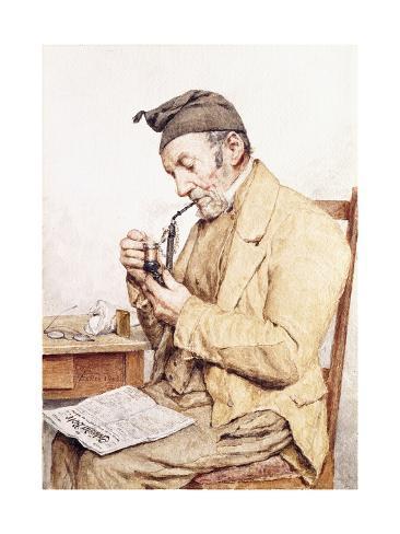 オールポスターズの アルバート アンカー grandfather with pipe 1903