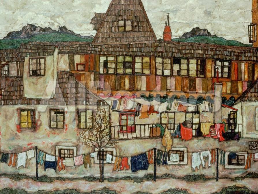 オールポスターズの エゴン シーレ house with drying laundry 1917