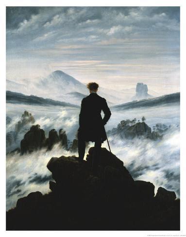 1818: 霧の海を見おろす散歩者 アートプリント