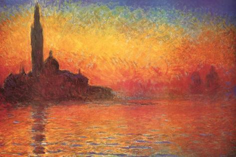 Monet Dusk Venice ポスター