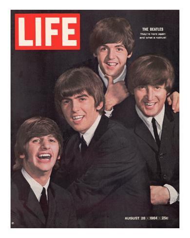 The Beatles, Ringo Starr, George Harrison, Paul Mccartney and John Lennon, August 28, 1964 プレミアム写真プリント