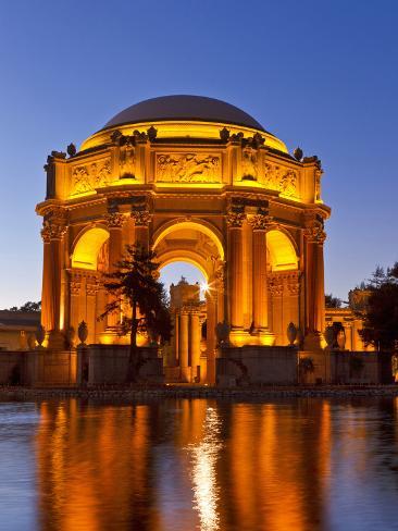 Palace of Fine Arts at Dusk in San Francisco, California, Usa 写真プリント