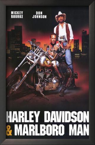 ハーレーダビッドソン&マルボロマン(1991年) 額入りアートプリント