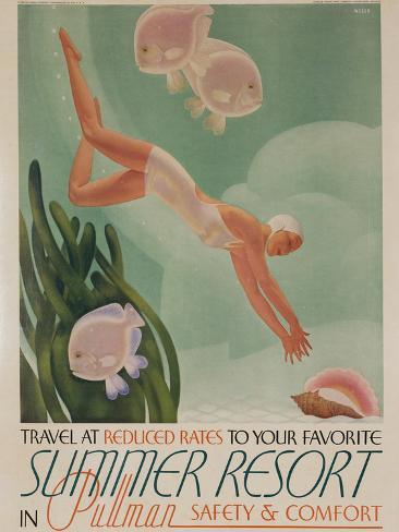 Summer Resort Travel Poster 写真プリント