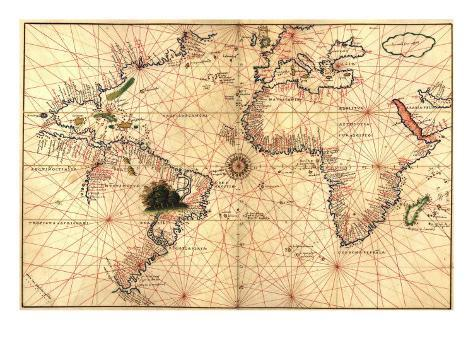 1544 Nautical Map of the Atlantic Ocean Foto