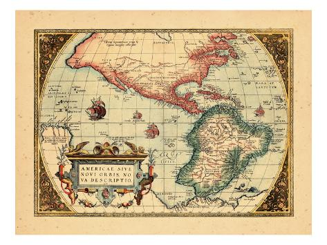 1574, North America, South America, World, Western Hemisphere Stretched Canvas Print