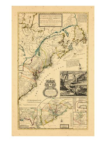 1732, Maryland, New Brunswick, New Jersey, New York, Newfoundland and Labrador, North Carolina Giclee Print