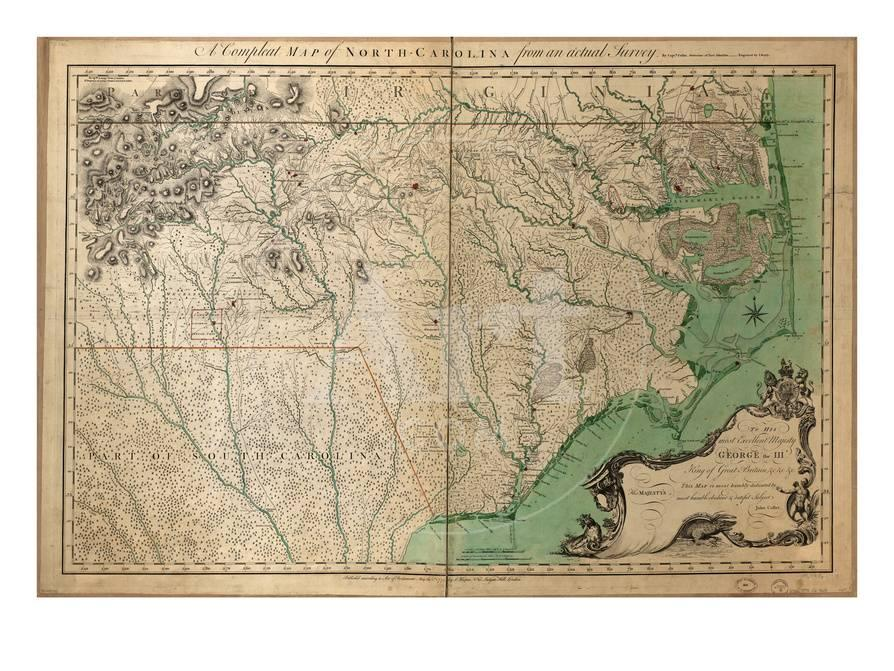 1770, North Carolina State Map with Landowner Names, North Carolina ...