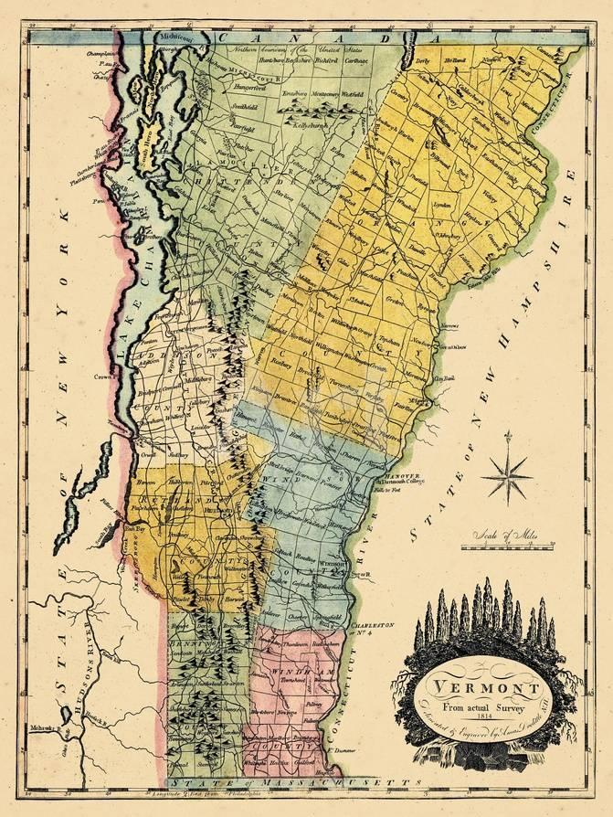1814, Vermont State Map, Vermont, United States