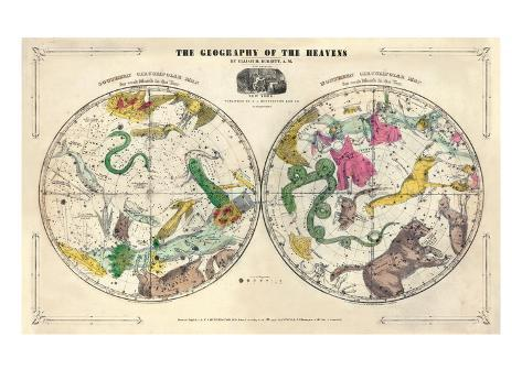 1835, Circumpolar Map Composite, Constellations Giclee Print