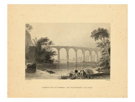 1840, Washington D.C View of Viaduct on Baltimore and Washington Railroad, District of Columbi Stretched Canvas Print