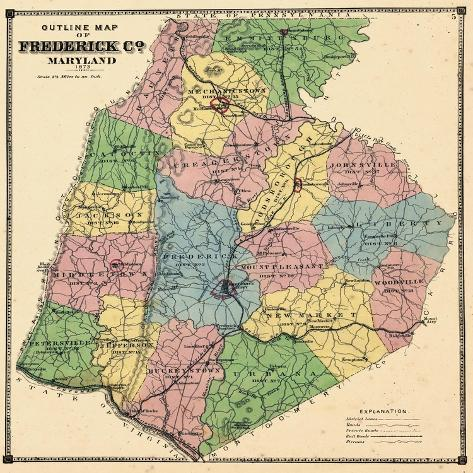 1873, Frederick County Map, Maryland, United States Giclee Print