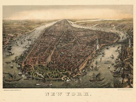 1873 panorama of Manhattan /& New York City art print