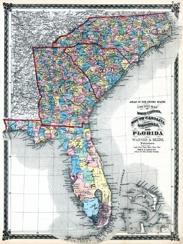Map Of North Florida And South Georgia.1875 North Carolina South Carolina Georgia And Florida States