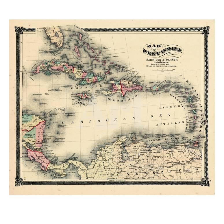 America Map Florida.1876 County Map Of Florida West Indies Caribbean Mexico Cuba South America United