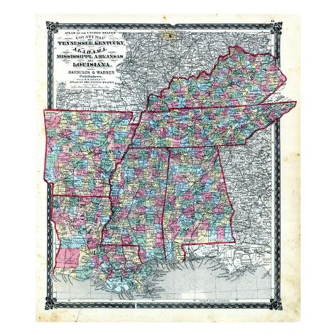 1876, County Map Tennessee, Kentucky, Alabana, Mississippi, Arkansas and Louisiana, Missouri, Unite Giclee Print