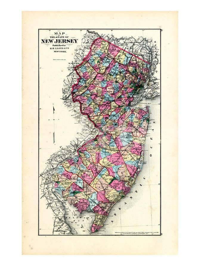 1876 New Jersey State Map New Jersey United States Giclee Print