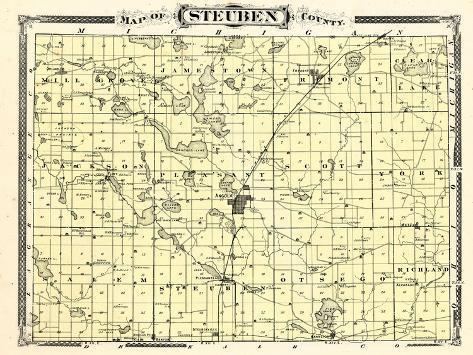 Steuben County Indiana Map.1876 Steuben County Indiana United States Giclee Print
