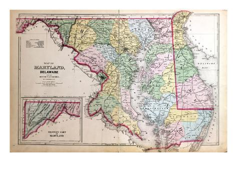 1879, Maryland, Deleware and District of Columbia Map, District of Columbia, United States Stretched Canvas Print