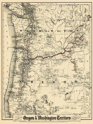1880, Oregon and Washington State Map, Oregon, United States Giclee Print