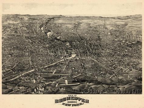1880, Rochester 1880 Bird's Eye View, New York, United States Giclee Print