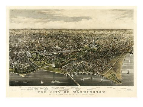 1880, Washington 1880c Bird's Eye View, District of Columbia, United States Giclee Print