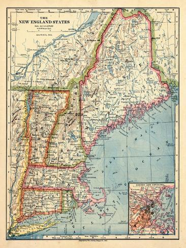 1883, New England 1883, Maine, United States Giclee Print