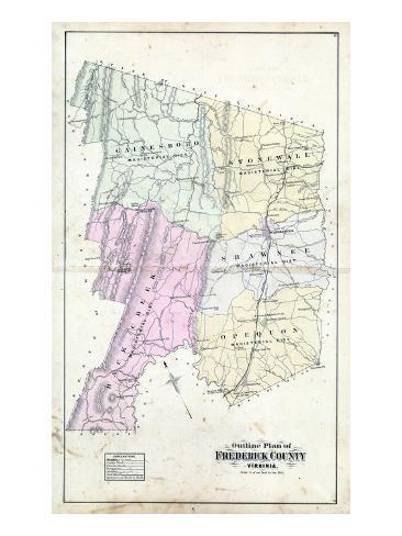 Virginia United States Map.1885 Frederick County Outline Map Virginia United States Giclee