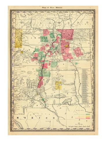 1885, New Mexico State Map, New Mexico, United States Giclee Print ...