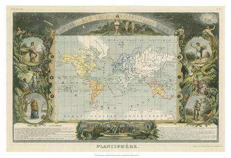 1885 Planisphere of the World Giclee Print
